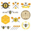 Set of honey design elements — Stock Vector #34639953