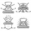 Ice hockey champions labels, badges and design elements — Stock Vector