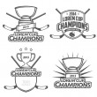 Ice hockey champions labels, badges and design elements — Imagen vectorial