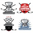 Ice hockey cup champions labels, badges and design elements — Stock Vector