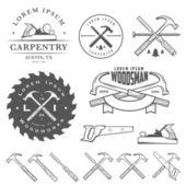 Set of vintage carpentry tools, labels and design elements — Stock vektor