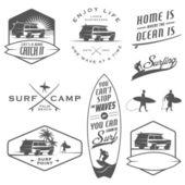 Set of surfing labels, badges and design elements — Cтоковый вектор