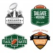 Set of American football tailgate party labels, badges and design elements — Stok Vektör