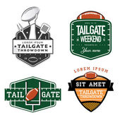 Set of American football tailgate party labels, badges and design elements — Stock Vector