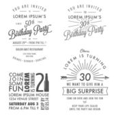Set of adult birthday invitation vintage design elements — Stock Vector