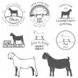 Stock Vector: Set of goat labels, badges and design elements
