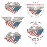 Сокол (орел) пролетел с американским флагом — Cтоковый вектор #42466509
