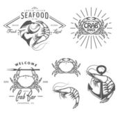 Set of seafood labels, badges and design elements — Stock Vector