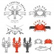Set of seafood, crab, lobster, fish design elements — Stock Vector #45209553