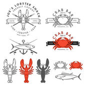 Set of seafood, crab, lobster, fish design elements — Stock Vector