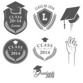Set of graduation labels, badges and design elements — Stock Vector