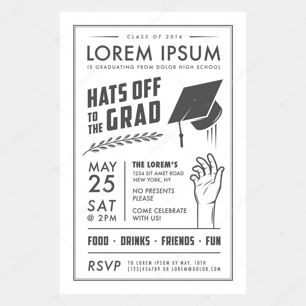 Tarjeta de invitación de fiesta de graduación Vintage — Vector de