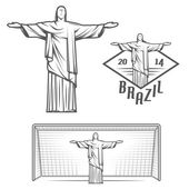Statue of Jesus Christ and of Rio de Janeiro — Stock Vector