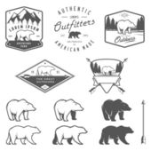 Set of bear icons, emblems and labels — Stock Vector