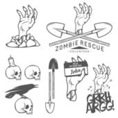 Funny Halloween zombie labels, signs and design elements — Stock Vector