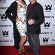 Постер, плакат: Adrianne Curry and Jamin Fite at the Playboy TV TV For 2 TCA Red Carpet Event Playboy Mansion Los Angeles CA 07 27 11