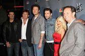 """Blake Shelton, Adam Levine, Christina Aguilera, Cee Lo Green at NBC's """"The Voice"""" Press Conference, LA Center Studios, Los Angeles — Stock Photo"""