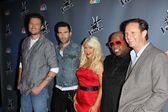 Blake Shelton, Adam Levine, Christina Aguilera, Cee Lo Green, Mark Burnett — Foto Stock