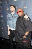 """Adam Levine and Cee Lo Green at NBC's """"The Voice"""" Press Conference, LA Center Studios, Los Angeles — Stock Photo"""