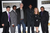 Jimmy Kimmel, Jim Hill, Phil Jackson, Kobe Bryant, Jeanie Buss and George Lopez at the Kobe Bryant Hand and Footprint Ceremony, Chinese Theater, Hollywood, CA. 02-19-11 — Stock Photo