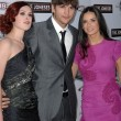 Rumer Willis, Ashton Kutcher and Demi Moore — Stock Photo