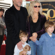 Russell Crowe, Danielle Spencer and sons Tennyson and Charlie - Stock Photo