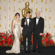 Tina Fey with Simon Beaufoy and Steve Martin — Stock Photo