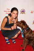 Lana Parrilla with dog — Stock Photo