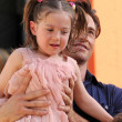 Hugh Jackman and his daughter at the ceremony honoring Hugh Jackman with Hand and Footprints in the courtyard of the Grauman&#039;s Chinese Theatre. Grauman&#039;s Chinese Theatre, Hollywood, CA. 04-21-09 - Zdjcie stockowe
