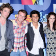 Постер, плакат: Robert Pattinson and Cam Gigandet with Taylor Lautner and Kristen Stewart