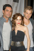 "Danny Pino, Brittany Murphy and Mike Vogel at the ""Across the Hall"" Premiere, Laemmle's Music Hall, Beverly Hills, CA. 12-01-09 — Stock Photo"