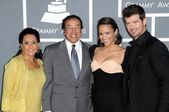 Smokey Robinson and wife Frances with Paula Patton and Robin Thicke — Stock Photo