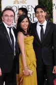 Danny Boyle with Freida Pinto and Dev Patel — Stock Photo