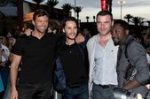 Hugh Jackman and Taylor Kitsch with Liev Schreiber and Will i Am at the United States Premiere of — Stock Photo