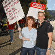 Kathy Griffin and Jon Cryer  at the Writers Guild of America Picket Line in front of Universal Studios. Universal City, CA. 11-13-07 - Stock Photo