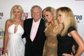 Holly Madison and Hugh Hefner with Bridget Marquardt and Kendra Wilkinson at the FOX Reality Channel Really Awards 2007. Boulevard3, Hollywood, CA. 10-02-07 — Stock Photo