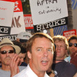 John Edwards at the Writers Guild of America Picket Line in front of NBC Studios. Burbank, CA. 11-16-07 - Stok fotoğraf
