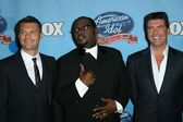 Ryan Seacrest with Randy Jackson and Simon Cowell — Stock Photo