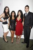 "Khloe Kardashian and Kourtney Kardashian with Kim Kardashian and Robert Kardashian Jr. at the ""Keeping Up With The Kardashians"" Premiere Party. Pacific Design Center, West Hollywood, CA. 10-09-07 — Stock Photo"
