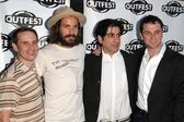Stephen Gutwillig and Santiago Cabrera with Alek Keshishian and Matthew Rhys — Stock Photo