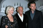 Helen Mirren with Giorgio Armani and Leonardo DiCaprio — Stock Photo
