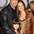 John Travolta and Kelly Preston with family — Stock Photo