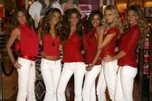 Adriana Lima, Alessandra Ambrosio, Izabel Goulart, Selita Ebanks, Karolina Kurkova and Gisele Bundchen sharing the Angels favorite holiday gift picks. Victorias Secret Store, Hollywood, CA. 11-15-06 — Stock Photo