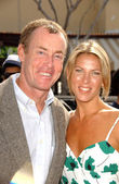 John C. McGinley and fiancee Nicole — Stock Photo