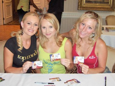 Katie Lohmann with Alana Curry and Melissa MoJo Hunter at the Bench Warmer World Cup 2006 Trading Cards Autograph Session. Bel Age Hotel, Los Angeles, CA. 06-22-06