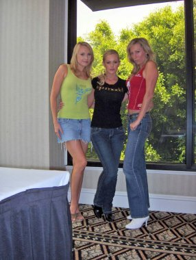 Alana Curry with Katie Lohmann and Melissa MoJo Hunter at the Bench Warmer World Cup 2006 Trading Cards Autograph Session. Bel Age Hotel, Los Angeles, CA. 06-22-06