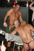Renee Stone and Male Strippers — Stock Photo