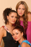 Abi Ferrin and RU at Revolving Door Style Studios. Abi Ferrin, Ksenia Linkova and Katia Jones — Stock Photo
