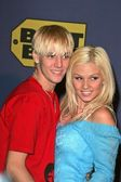 Aaron Carter and Monique at the Elton John Dream Ticket Launch, Caesars Palace , Las Vegas, NV 10-24-04 — Stock Photo