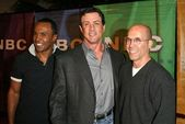 Sugar Ray Leonard, Sylvester Stallone and Jeffery Katzenberg — Stock Photo